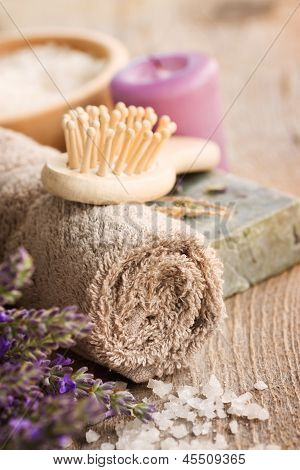 Spa With Lavender And Towel