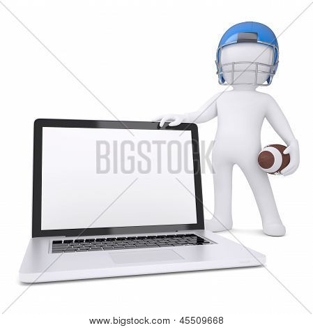 3d man in a football helmet holds laptop