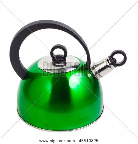 green kettle isolated on white background