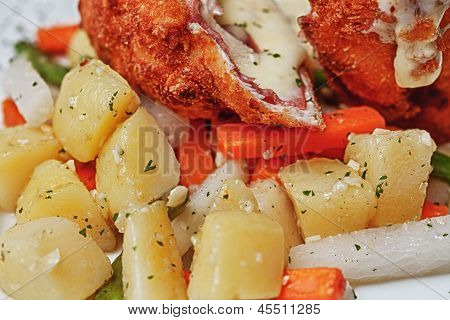 Chicken Cordon Bleu With Boiled Potatoes