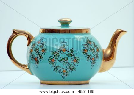 Turquoise And Gold Antique Teapot