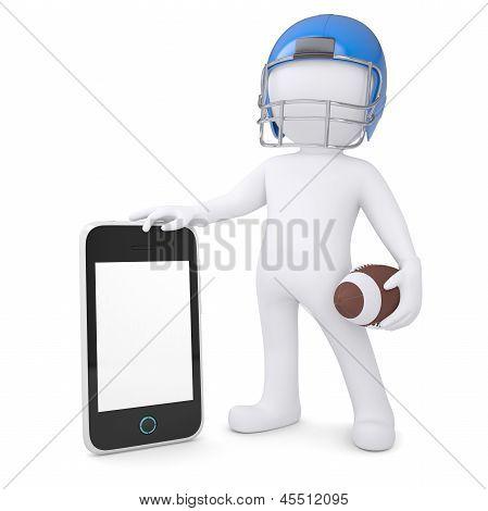 3d man in a football helmet holds smartphone