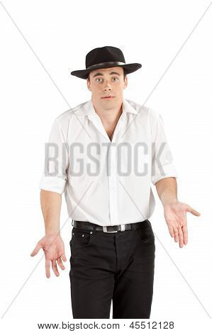 Unhappy businessman in hat