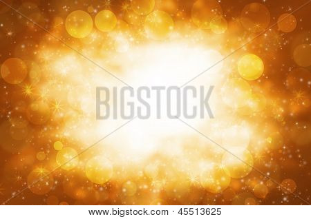Abstract Circular Bokeh With Golden Background.