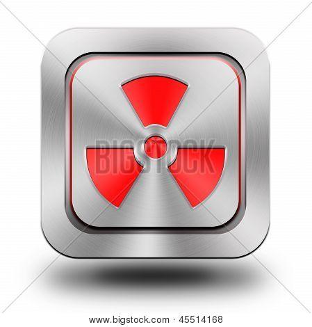 Radioactive Aluminum Glossy Icon, Button, Sign