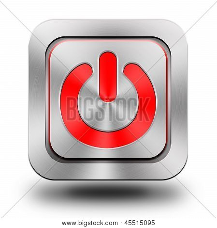 On-off Aluminum Glossy Icon, Button