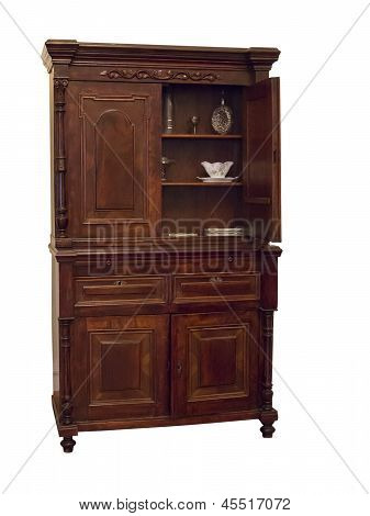 19Th Century Wood Sideboard With Vintage Objects In It Isolated Over White