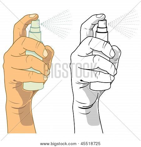 Hand Holding A Spray Bottle.eps