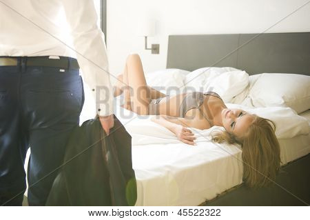Passion portrait of couple in love
