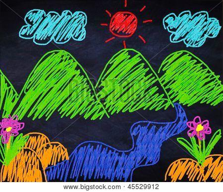 Landscape, Child's Illustration
