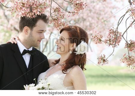 Wedding Couple Under Cherry Blossoms
