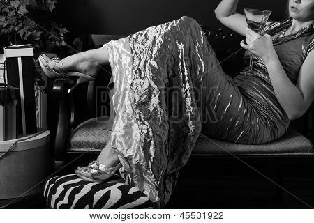 Elegant Formal Gown Reclined With Champagne