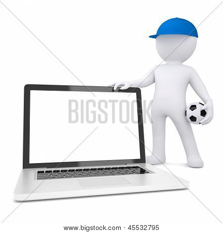 3d white man with soccer ball holding laptop
