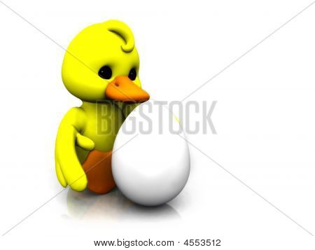 Cartoon Chicken With Egg