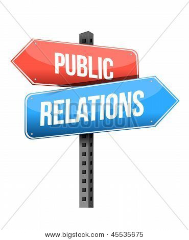 Marketing Concept: Public Relations Road Sign