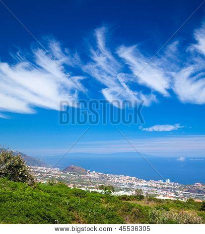 Northern  Tenerife, View Over Puerto De La Cruz Towards La Palma