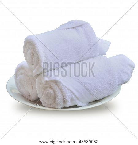 Rolled Up Of Beach Towel Isolated On White.