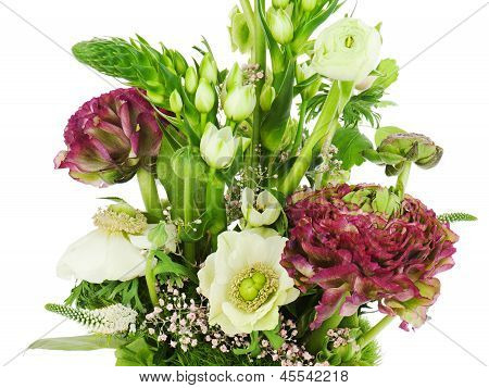 Fragment Of Colorful Bouquet Isolated On White Background. Closeup.