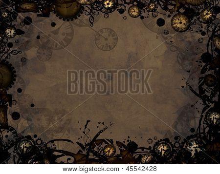 Abstract Vintage Clocks Steampunk Dark Background