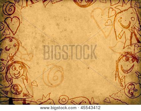 Childish Drawings Retro Frame Background
