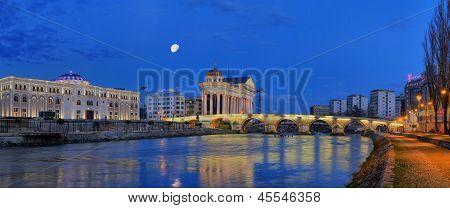 Stone Bridge By Night In Skopje