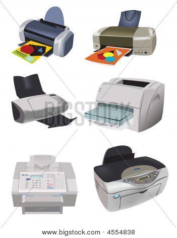 Una colección de impresoras