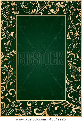 Gold Frame On Green Background