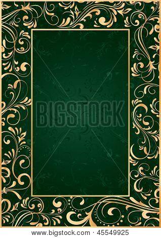 Gold Frame On Green Background