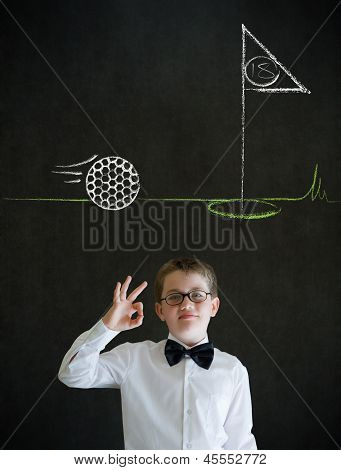 All Ok Boy Business Man With Chalk Golf Ball Flag Green