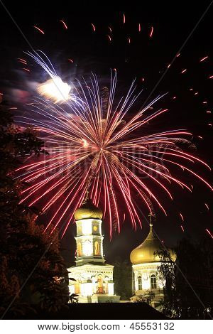 Fireworks Above Church
