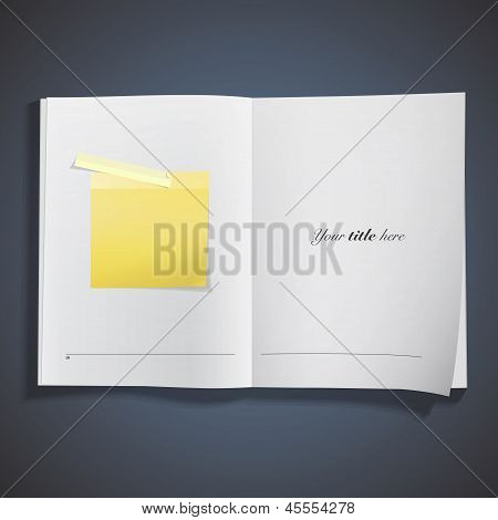 White Book With Post It Inside. Vector Design.