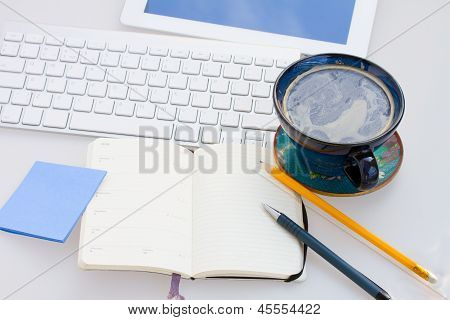 open note pad  on working table