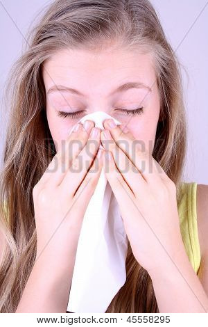 Girl Blows Her Nose With Handkerchief, Allergy Concept