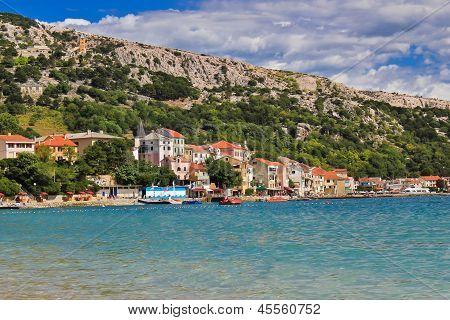 Adriatic town of Baska waterfront