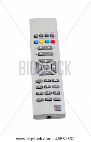 remote control tv silver isolated on white background
