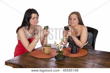 Two Women Sitting Coffee Cell Phones