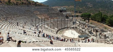 The Ancient Theater In Ephesus, Turkey.