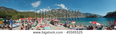 Oludeniz, Turkey - September 09, 2012: The Tourists Are Visiting Oludeniz Beach.