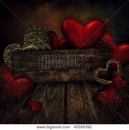 Valentines Design - Hearts On Wood
