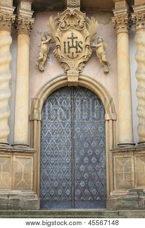 Entrance door of a baroque style church