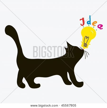 Cat with idea light bulb