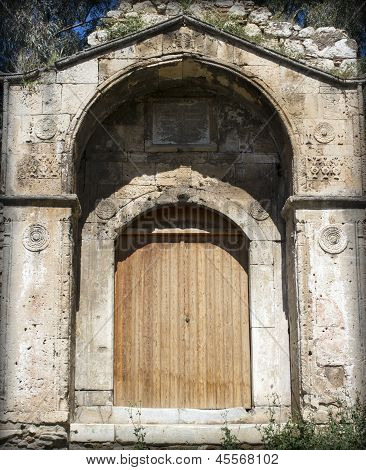 ancient wooden front door