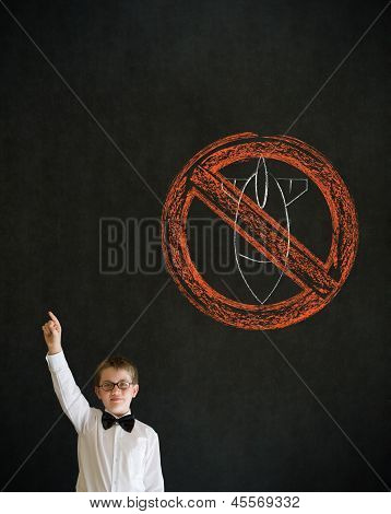 Hand Up Answer Boy Business Man With  No Bombs War Pacifist Sign