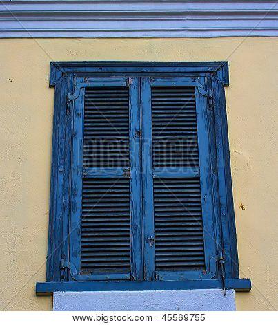 old blue greek window