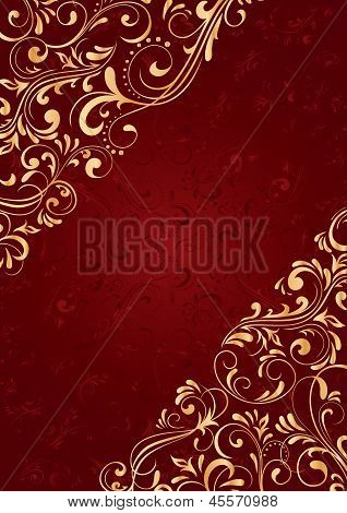 Red Background With Gold Pattern