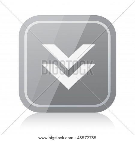 Gray rounded square download icon with reflection