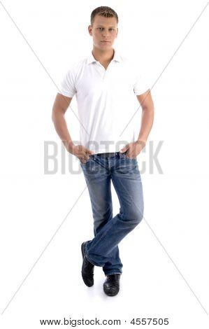 Handsome Caucasian Model In Standing Pose And Looking At Camera