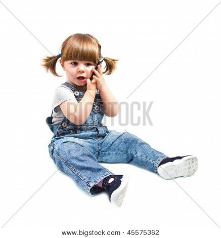 Cute Little Baby Is Talking On Cell Phone