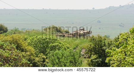 Israeli Tank On Combat Duty In The Field On Golan Heights