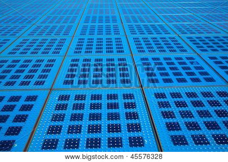 Solar Panels Background On The Promenade In Zadar, Croatia. Amphitheater